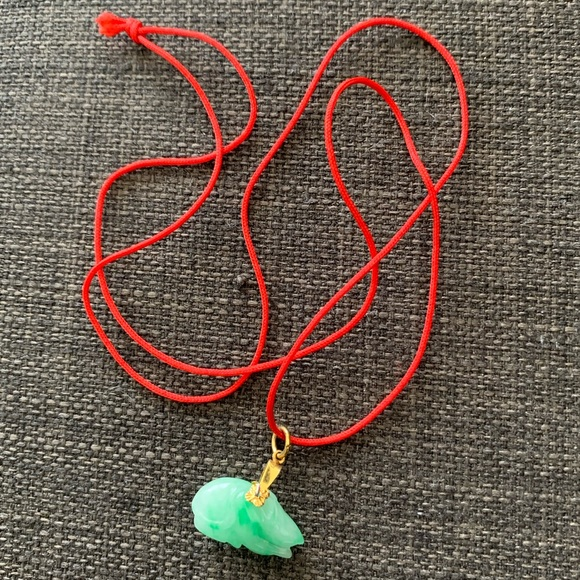 Year Of The Rat Chinese Jade Necklace